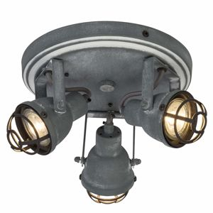 Brilliant LED stropní svítidlo Bente betonová šedá 3 žárovky