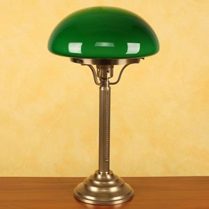 Berliner Messinglamp Mosazná stolní lampa Hari, zelené stínidlo