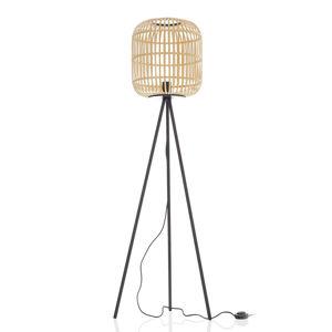 EGLO Bordesley stolní lampa, třínožka, dřevěné stínidlo