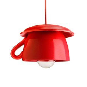 Eurokeramic Tazza červené keramické závěsné světlo do kuchyně