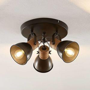 Lindby Lindby Arina stropní světlo, kulatý, dřevo, 3žár.