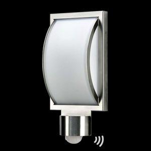 Albert Leuchten Venkovní nástěnné svítidlo Curvo, nerez, snímač