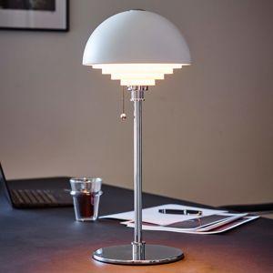 Herstal Bílá stolní lampa Motown s rastrem