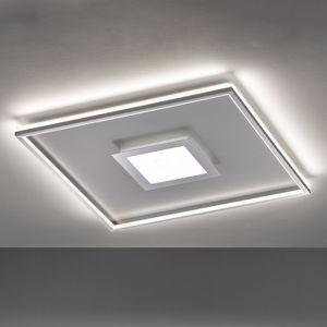 FISCHER & HONSEL LED stropní svítidlo Zoe, čtvercové, chrom 80x80cm