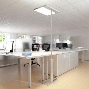 GLamOX Kancelářská stojací lampa Linea-F, senzor, šedá