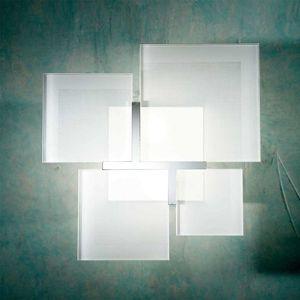 Lam Stropní světlo QUADRIFOGLIO 8050, stříbrné, 36 cm
