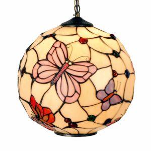 Clayre & Eef Závěsné světlo Rosy Butterfly v Tiffany stylu