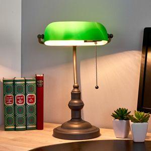 Clayre & Eef Bankéřská lampa Verda s nohou v antické hnědé