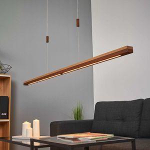 Lucande Rez a masivní dřevo LED závěsné světlo Elna 158 cm