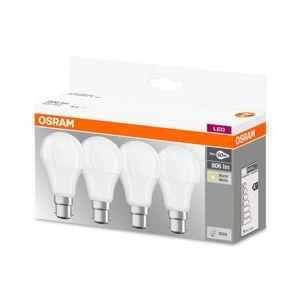 OSRAM LED žárovka B22d 9W, teplá bílá, 806 lm, sada 4ks