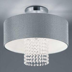 Reality Leuchten Stropní světlo King s textilním stínidlem stříbrné