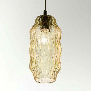 Selene Závěsné světlo Origami ze skla, jantarové