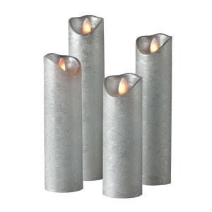 Sompex Válcová svíčka Shine LED, 4ks, Ø 5 cm, stříbrná