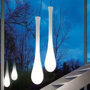 Vistosi Závěsné světlo Lacrima ze skla, Ø 25 cm, bílé