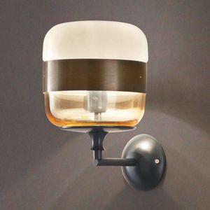 Vistosi Designové nástěnné světlo Futura ze skla, bronz