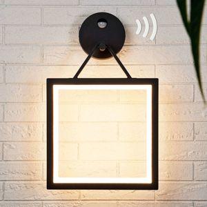 Lucande Venkovní LED světlo Mirco s čidlem, hranaté