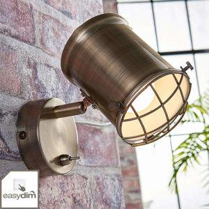Lindby Nástěnný LED spot Ebbi ve starožitné mosazi