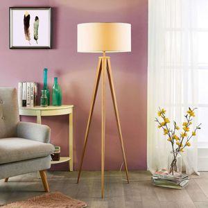 Lindby Stojací lampa Benik, vzhle stativu, bílá-dřevěná