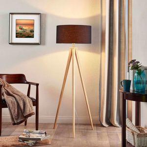Lindby May - dřevěná stojací lampa s černým stínidlem