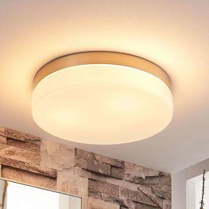 Lindby Bílá stropní lampa Amilia s niklovým rámem, IP44