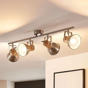 Lindby Stropní LED světlo Dennis se dřevem, 4bodové