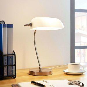 Lampenwelt.com Bankéřská lampička Selea s bílým stínidlem