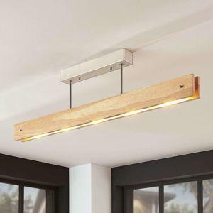 Lucande Dřevěné LED stropní svítidlo Evolette, podlouhlé