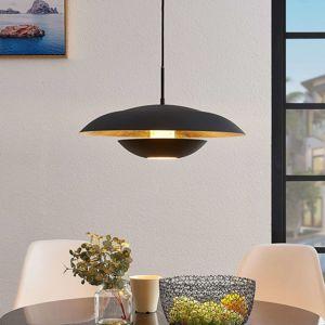 Lindby Lindby Sayra kovové závěsné světlo černo-zlaté