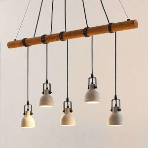 Lindby Lindby Mirka LED závěsné svítidlo z betonu a dřeva