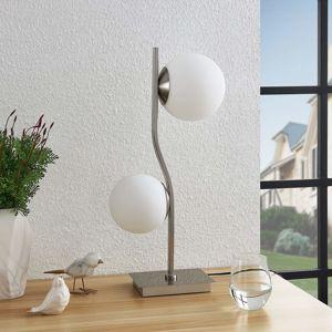 Lindby Lucande Avalyn stolní lampa, bílá, nikl satin.