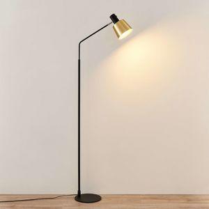 Lindby Lindby Vlada stojací lampa čtecí, mosaz, černá