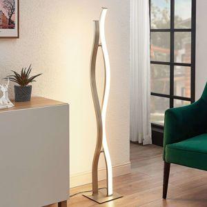 Lucande Lucande LED stojací lampa Maira, tvar vlny, hliník