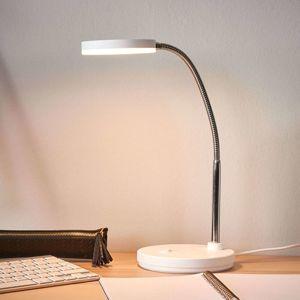Lindby Bílá LED stolní lampa Milow