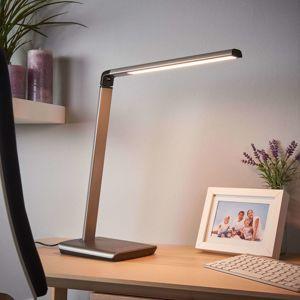 Lindby Metalická šedá LED stolní lampa Kuno, stmívač USB