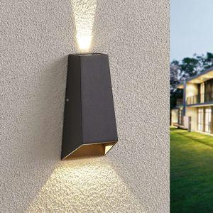 Lampenwelt.com LED venkovní nástěnné světlo Dagur, tmavě šedé