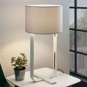 Lampenwelt.com Textilní stolní lampa Tarika v šedé a bílé barvě