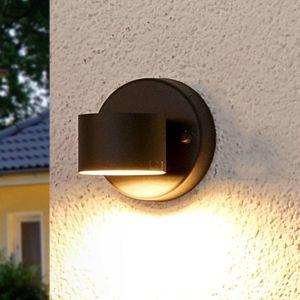 Lindby Grafitově šedé LED venkovní nástěnné svítidlo Lexi