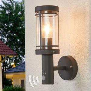 Lindby Venkovní nástěnné svítidlo Djori tmavě šedé senzor